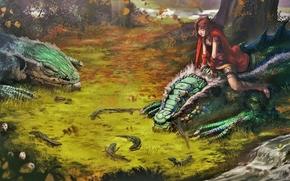 Thibault_girard, art, girl, dragons, forest, mushrooms