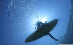 girl, surf, surfing, depth, board, water