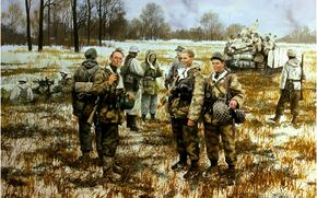 Art, soldiers, Wehrmacht, war, German infantry in 1944.