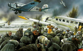 Art, soldiers, Wehrmacht, plane, retreat, Stalingrad, Junkers Ju-52 evacuating wounded from Stalingrad