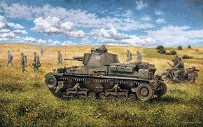 Sztuka, wojna, tank, piechota, Wehrmacht, obraźliwy, Skoda LT vz.35 (Pz.Kpfw 35 (t))