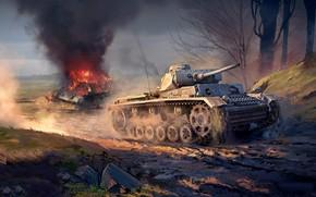 Arte, tanque, lutar, guerra, Guerra Trovão, Panzer III vs T-34-76
