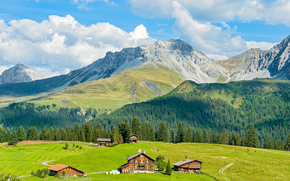 Mountains, field, home, trees, landscape
