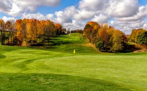 Hills, trees, field, landscape, autumn, Golf