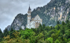 Rocks, castle, forest, landscape, Neuschwanstein Castle