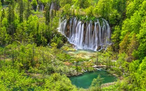 trees, waterfalls, cascade, national park, Plitvice Lakes, Croatia, Plitvice