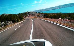 Straße, Kroatien, Meer, Grau, blau, Grün