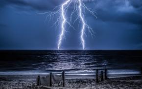 море, берег, забор, тучи, молния
