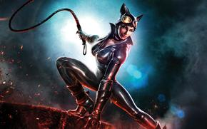 Infinite_crisis, whip, girl, leather, catwoman, boots, fire