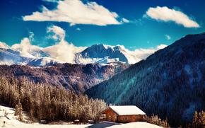 winter, Mountains, trees, cabin, landscape