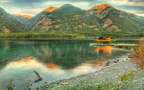 British Columbia, Alaska, река, горы, деревья, самолёт, пейзаж