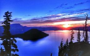 lake, landscape, sunset, Crater Lake
