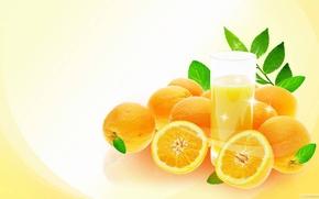 juice, glass, oranges