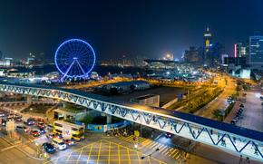香港, 中心, 夜, 灯火