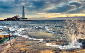 St. Marys Lighthouse, North East England, башня, маяк
