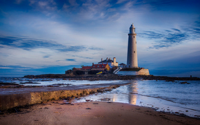 St. Marys Lighthouse, North East England, башня, маяк, закат