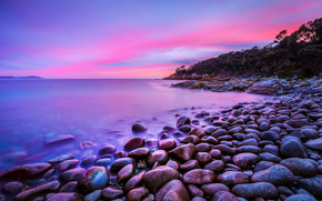 sunset, sea, shore, stones