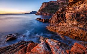菲欣纳国家公园, 塔斯马尼亚, 海, 岩石, 日落, 景观