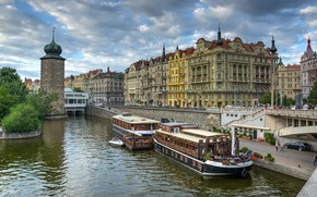 La riva del fiume Moldava, Praga, ponte, Jiraskuv