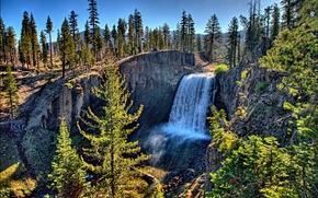 瀑布, 岩石, 树, 景观
