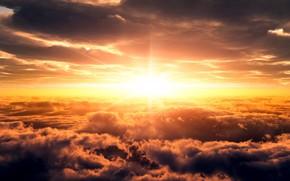 восход, солнце, небо