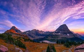 Hidden Lake, Glacier National Park, Mountains, trees, lake, landscape