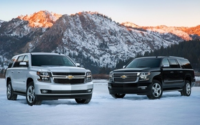 Chevrolet Suburban, winter, 2015, Chevrolet Tahoe, Mountains, jeep