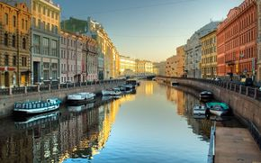 channel, water, Neva, Boat, petersburg, Russia