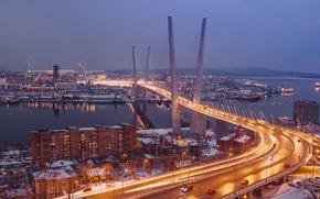 noche, ciudad, Puente de Rusia, Golden Horn Bay, Vladivostok, Costero