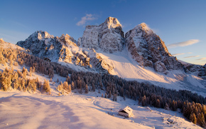 Mountains, trees, cabin, winter, landscape
