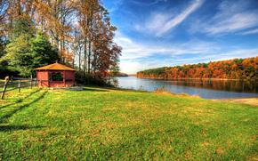 otoño, río, campo, bosque, árboles, cenador, paisaje