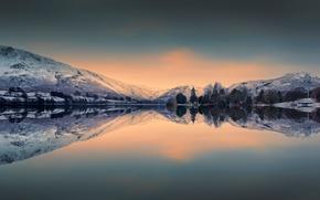 Ullswater Lake, Distretto Del Lago, Monti Cambrici, inghilterra, Lago Ullswater, Lake District, Cumberland Mountain, Inghilterra, lago, Montagne, DAWN, mattinata, riflessione