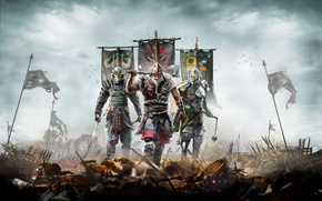 For Honor, viking, samurai, knight, flags, battlefield