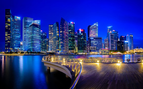 Singapore, Singapore, city ​​nightlife, building, Skyscrapers