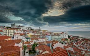 Lisbon, Portugal, Лиссабон, Португалия, бухта Мар-да-Палья, панорама, здания, побережье