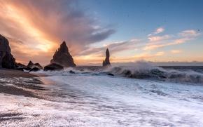 Vik, islanda, Oceano Atlantico, Vic, Islanda, Oceano Atlantico, tramonto, Rocce, oceano, costa, tempesta, onde