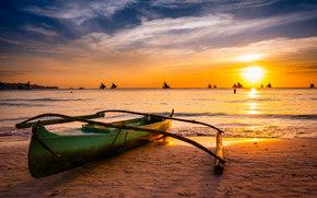 Boracay, Philippines, paraw, Боракай, Филиппины, лодки, море, закат