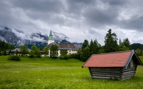 Schloss Elmau, Bavaria, Germany, Wetterstein mountains, Schloss Elmau, Bayern, Germany, Wetterstein Mountains, castle, hotel, meadow, Mountains, cabin