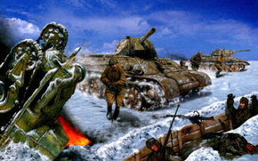 "Art, T-34-76, soldiers, war, ""Death to the fascist invaders !., The Battle of Stalingrad November 19, 1942, Valery Petelin"