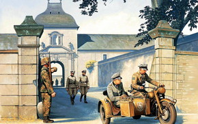 Art, soldiers, Wehrmacht, Fascists, German soldiers, motorcyclist