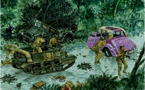 Art, war, soldiers, Hong-Kong in 1941, Counter-Attack at the Wongneichong Gap, Giuseppe Rava