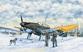 арт, Самолет, Люфтваффе, Зима, Junkers Ju-87B-2.U4 Stuka