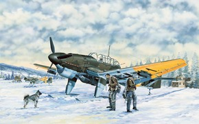 Art, piano, Luftwaffe, inverno, Junkers Ju-87B-2.U4 Stuka