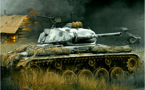 Sztuka, tank, M24 Chaffee eskadry rozpoznawczych, Belgia, Lutego 1945. Arkadiusz Wróbel