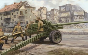 Art, gun, soldiers, ussr, Russian 100mm Anti Tank Gun M1944