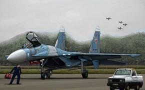 Kunst, Flugzeug, Russland, Russische Su-27 Flanker B