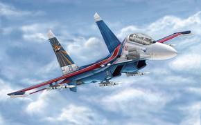 Kunst, Russland, Flugzeug, Russische Su-27UB Flanker C
