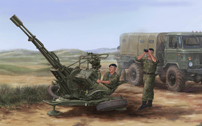 Art, Russian ZU-23-2 Anti-Aircraft Gun, soldiers, Gas-66