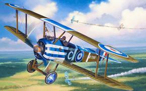 Art, plane, sky, Sopwith Camel