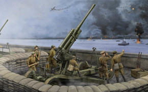 Art, Antiaircraft gun, war, soldiers, Soviet 52-K 85mm Air Defense Gun M1943 (Late Version)